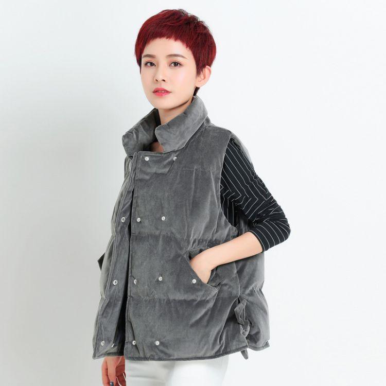 邂逅江南2018金丝绒女棉马甲显瘦羽绒棉纯色立领马夹XH4Q1062
