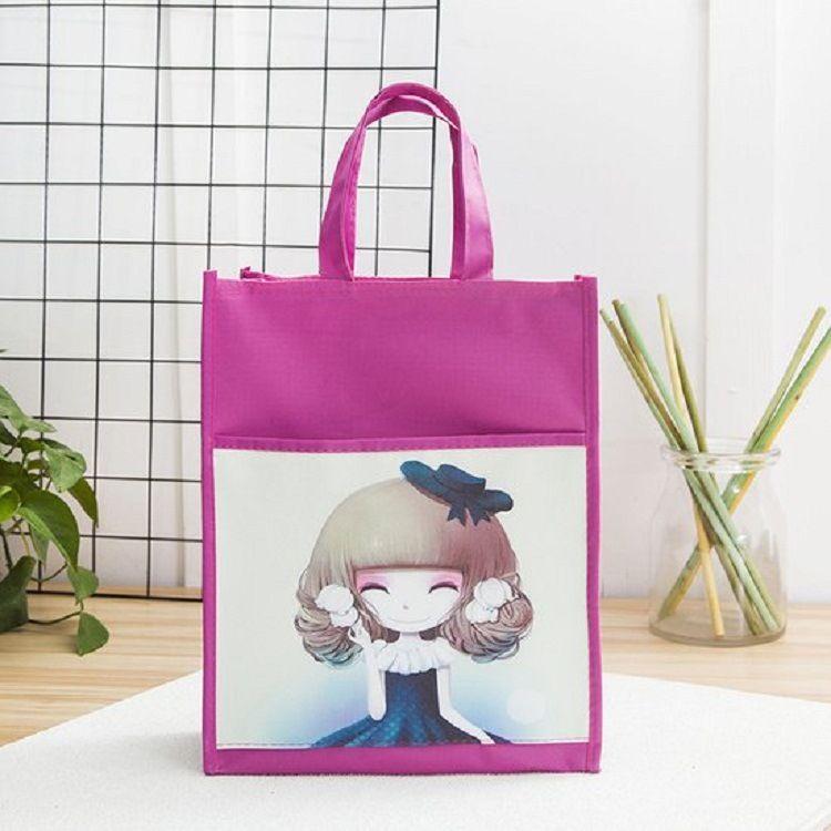 新款尼龙手提包包女大容量手提袋子人物图案清新文艺风格
