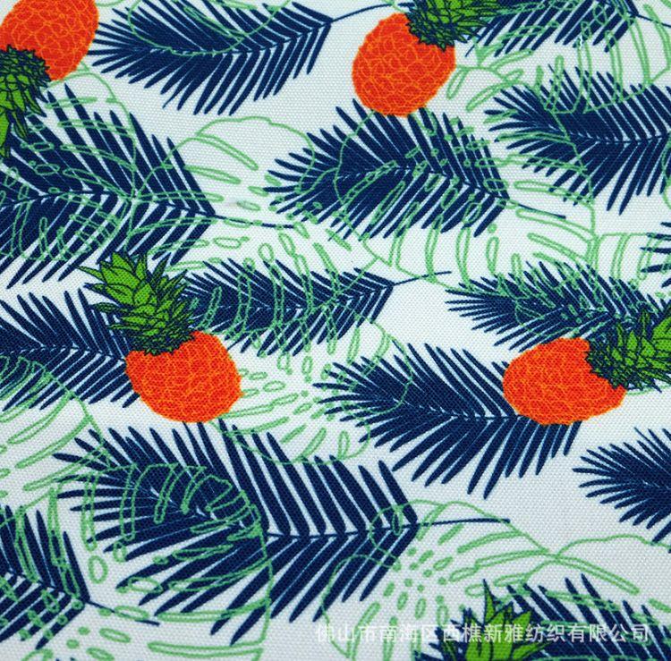 12安全涤帆布印花 数码印花 12安大化纤 910号 小清新植物花型