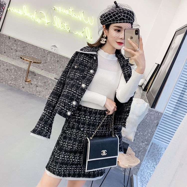 2018秋装新款韩版复古港味格子上衣外套高腰短裙两件套时尚套装女