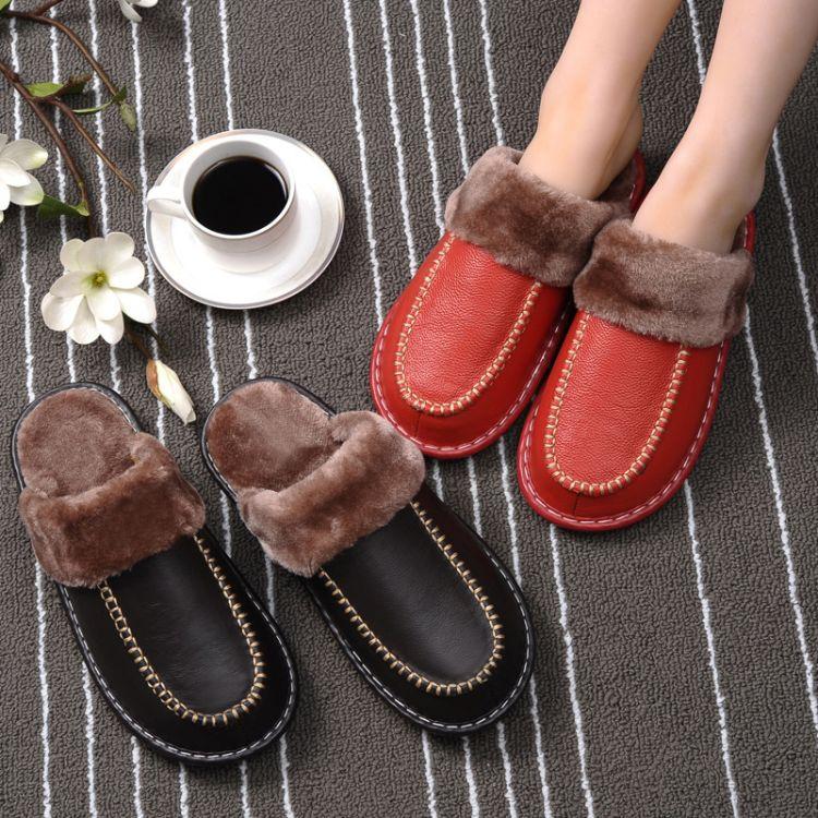 冬季真皮拖鞋居家男女室内防水情侣月子毛毛牛皮棉拖鞋加厚底冬天