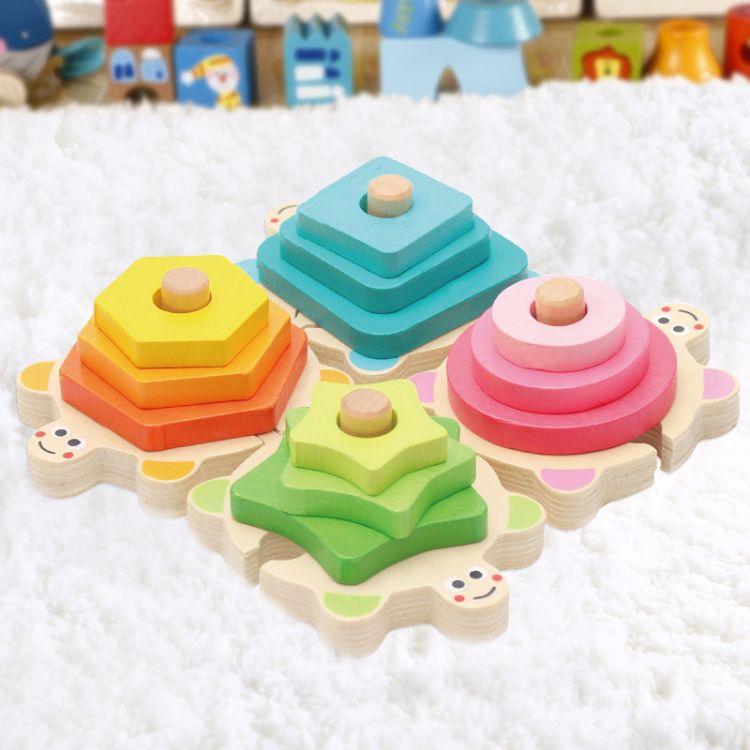 批发木制儿童益智玩具宝宝启蒙形状套柱积木玩具可爱海龟套柱积木