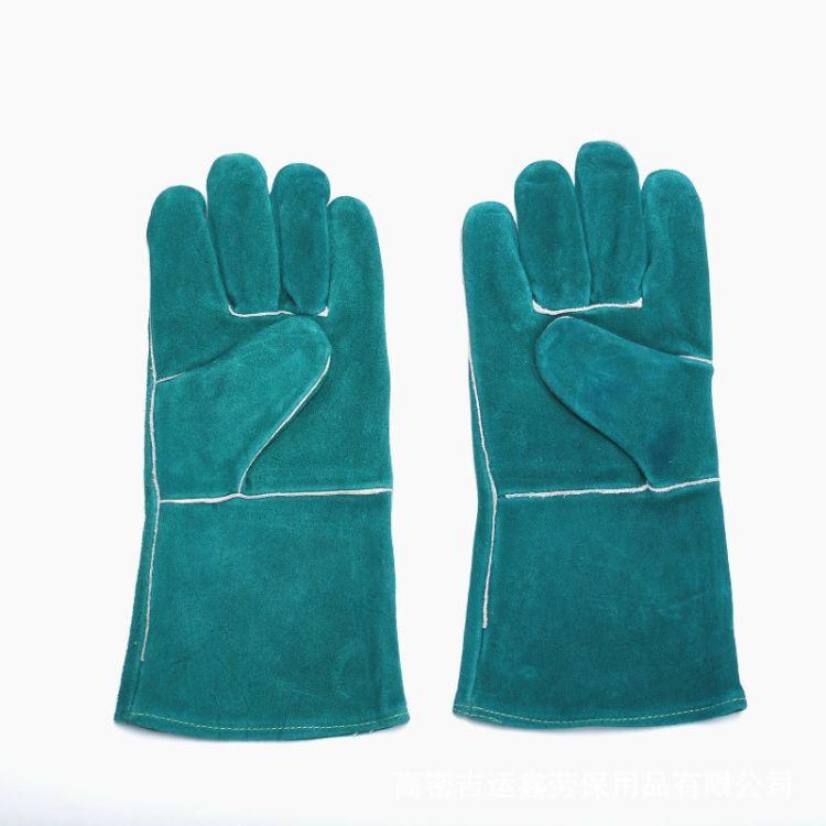 厂家直销A级翠绿双层耐磨隔热防火线长皮手套牛皮工作手套批发