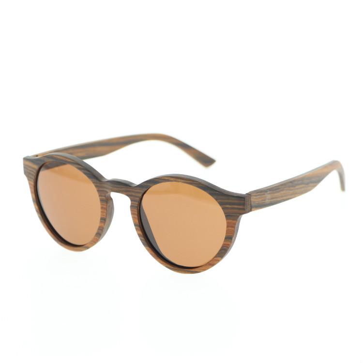 厂家直销 纯手工制作圆框木皮偏光太阳镜