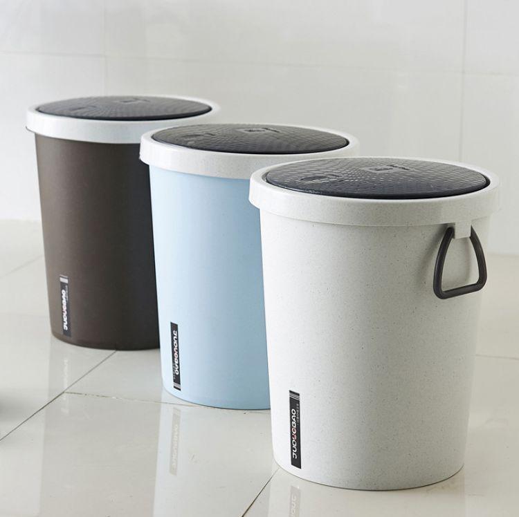 厂家按压垃圾桶家用卫生间圆形塑料有盖带盖厕所客厅卧室北欧简约