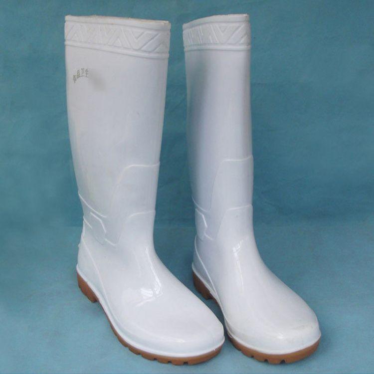 中高筒食品卫生白色长款鞋靴牛筋底 耐油耐磨耐酸碱劳保胶鞋