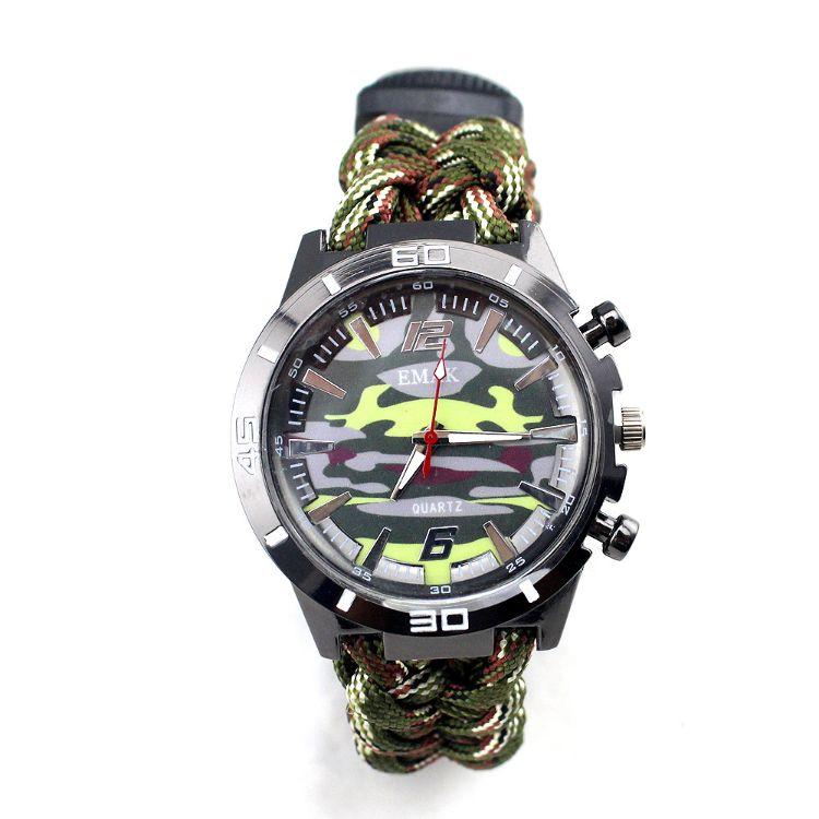 2018探险求生户外伞绳军迷彩表 五合一指南针伞绳迷彩伪装手表