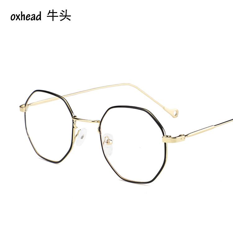 2018防蓝光眼镜框 电脑电竞多边形眼镜 新款男女士金属平光镜3263