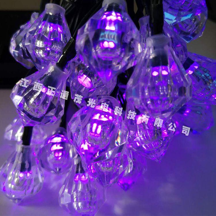 厂家直销太阳能灯串庭院装饰灯串太阳能30LED钻石彩灯户外灯