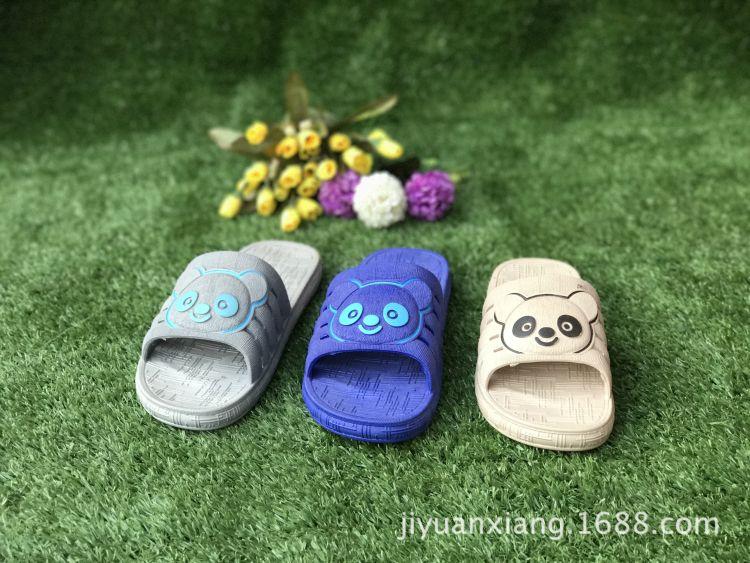 夏季卡通熊猫中童-中童凉拖鞋软底洞洞鞋2017新款男中童厂家直销