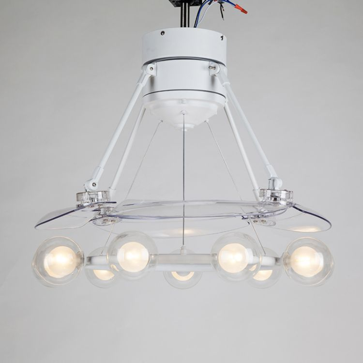 厂家直销现代简约九头玻璃球隐形吊扇灯风扇吊灯白色时尚自动收缩