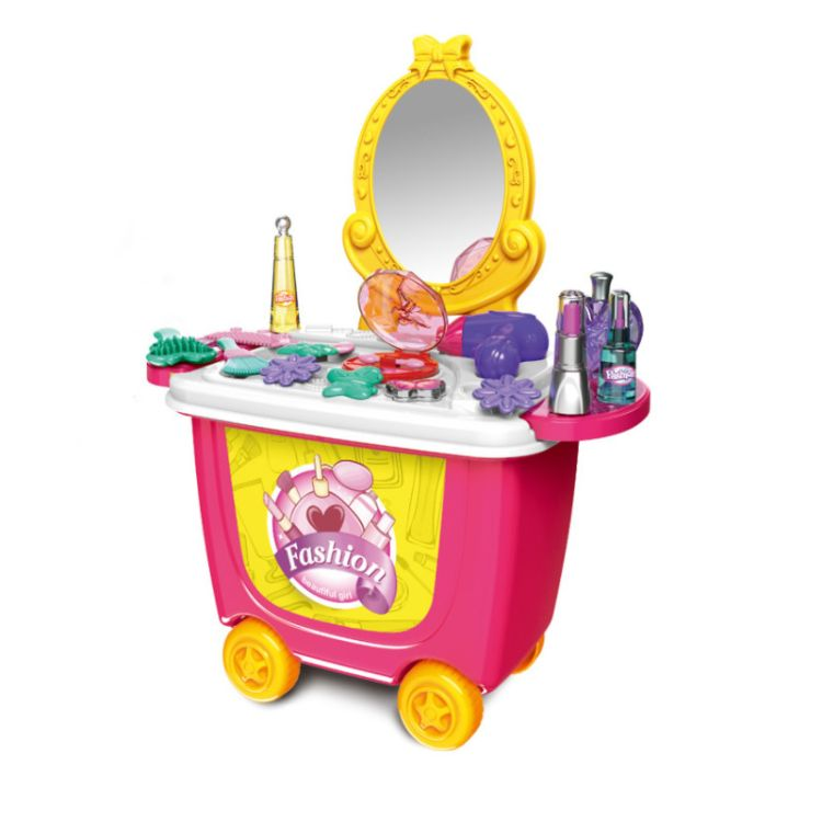 过家家玩具化妆车含21个配件有15种化妆用具一个收纳桶A7719