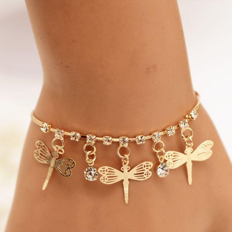 义乌手饰批发 欧美时尚合金镀金色蜻蜓女士手链外贸爆款