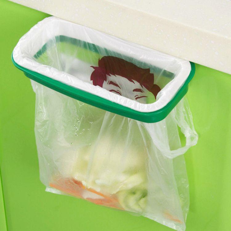 可挂式厨房垃圾架 橱柜门挂式垃圾桶支架收纳架垃圾袋架子 80g