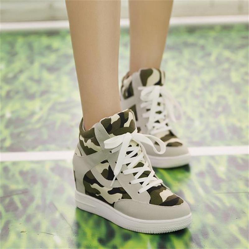 春秋季帆布鞋内增高运动休闲鞋系带高帮迷彩女鞋速卖通亚马逊爆款