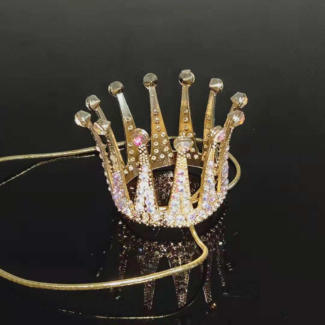 厂家直销baby同款新娘皇冠整圆头饰珍珠结婚公主王冠配饰蛋糕摆件