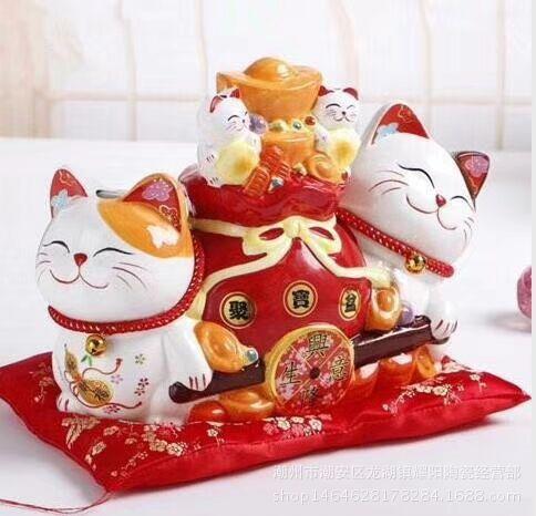 12寸陶瓷工艺储蓄罐情侣招财猫  办公桌前台开业送礼摆件定制logo