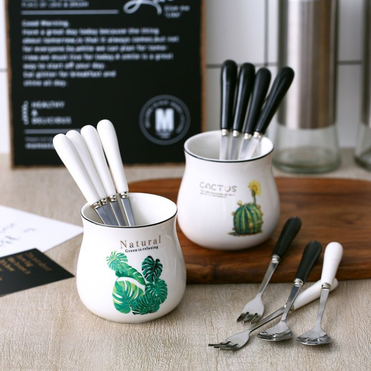 创意北欧植物水果叉陶瓷不锈钢小叉子点心叉甜品叉水果签叉子套装