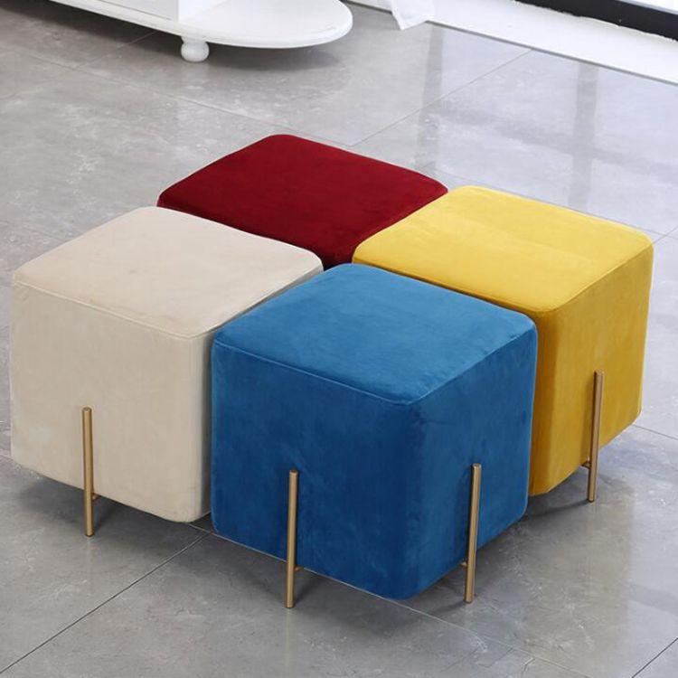 北欧换鞋凳创意方块矮凳家用小凳子网红服装店鞋店简约铁艺沙发凳