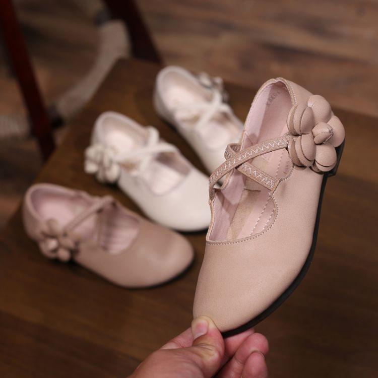 爆款韩版真皮公主鞋 甜美女童小皮鞋 2018秋季新款儿童花朵单鞋