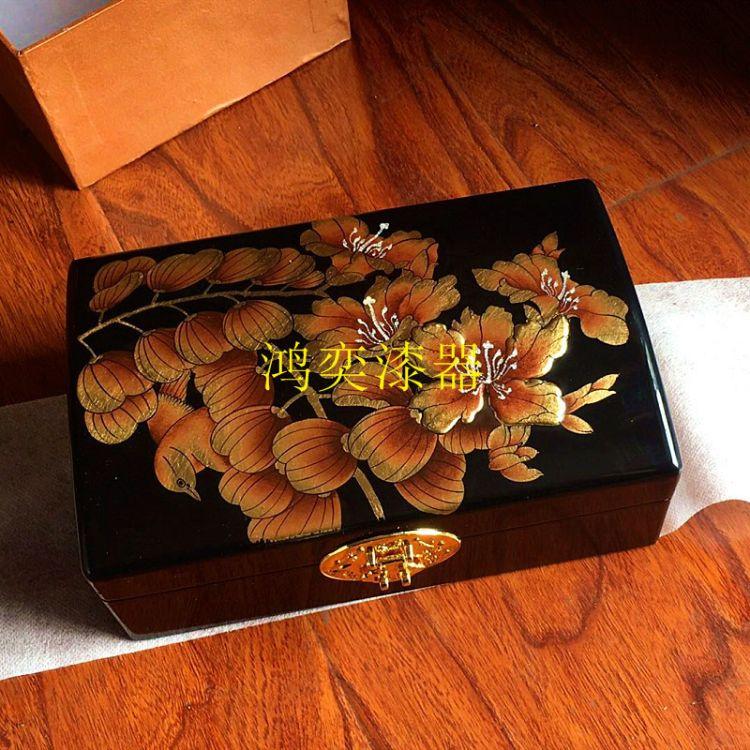 推光漆器带镜首饰盒实木传统手工贴金彩绘中式元宝首饰收纳盒定做