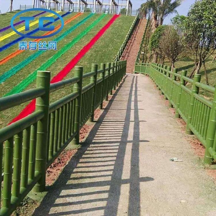 景点街道仿竹节管栅栏 网格篱笆护栏 道路仿竹生态护栏现货供应