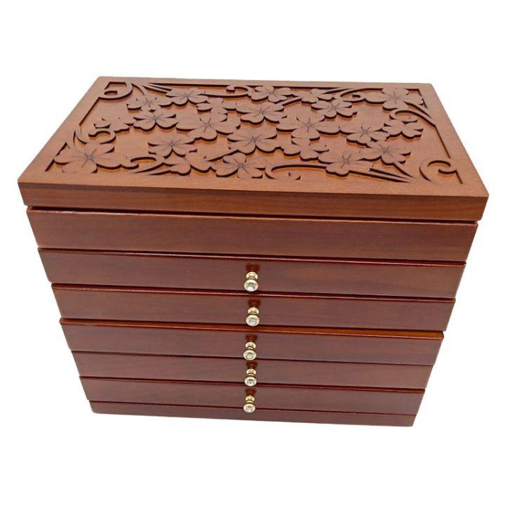 批发简约木制化妆箱 5抽屉胡桃木颜色首饰箱 带镜首饰盒珠宝盒