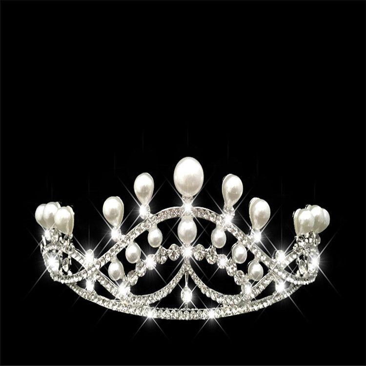 厂家高档水钻结婚皇冠婚礼发饰 新娘珍珠发冠头饰