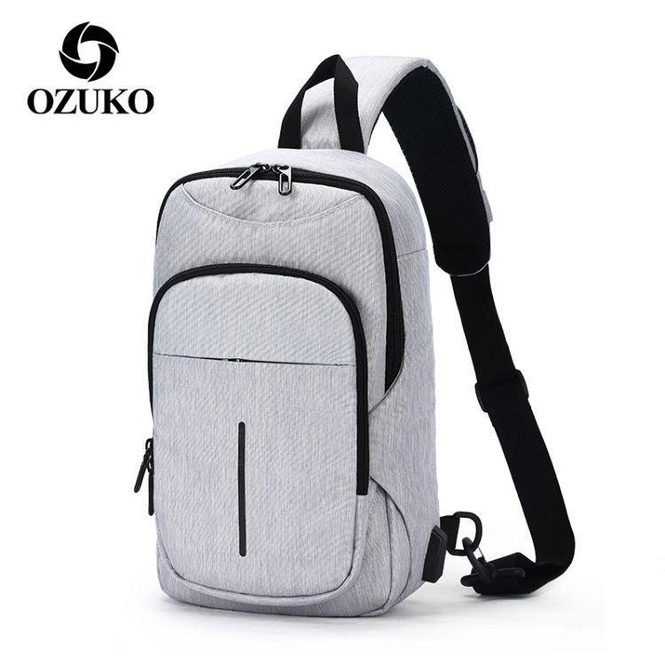 ozuko 新款牛津布男士胸包大容量usb商务男士单肩斜挎包厂家直供