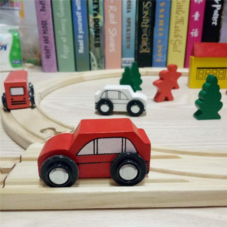 儿童木制玩具直销批发 圆形轨道 积木车宝宝益智趣味游戏地摊热卖