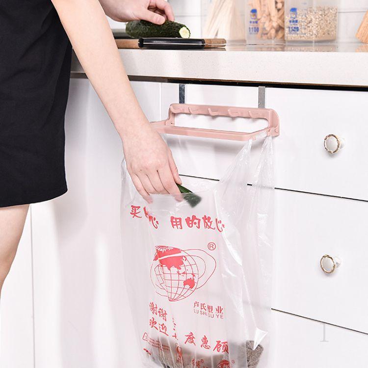 多功能厨房置物架可挂式橱柜门垃圾袋收纳架塑料架子支架挂壁批发