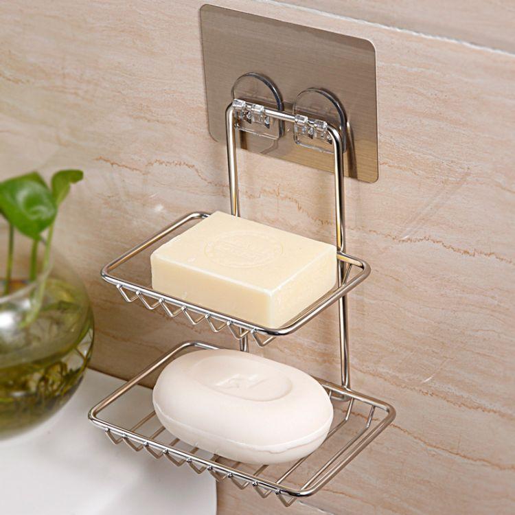 双庆家居无痕香皂盒不锈钢肥皂盒卫生间壁挂式肥皂架双层皂盒5077