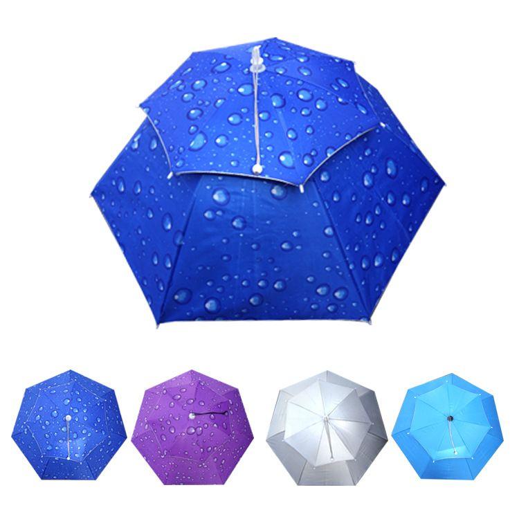 松紧系带型帽子伞防紫外线头戴伞牛津双层帽伞防风翻转头套伞78cm