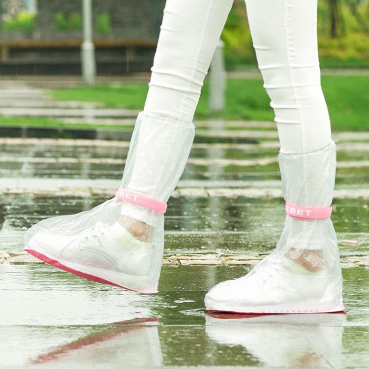 pvc彩色新款户外旅游防滑雨鞋套 防水加厚雨靴套 绑带高帮长款