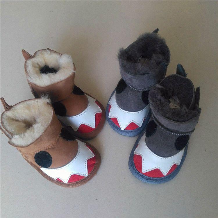 宝宝雪地靴2017冬款皮毛一体0-3岁防水保暖小怪兽男女儿童学步鞋