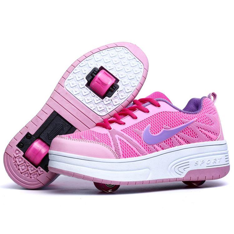 亚马逊跨境货源暴走鞋单轮自动款轮子鞋双轮儿童轮滑鞋溜冰鞋女