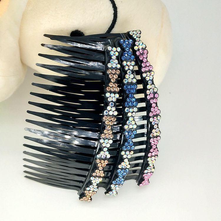 手工制作齿水钻发梳 2元店盘发工具批发服饰配件饰品发饰头饰插梳