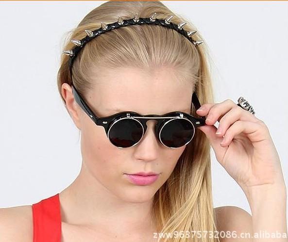 厂家直销欧美蒸汽朋克双层翻盖复古太阳眼镜 金属圆框墨镜