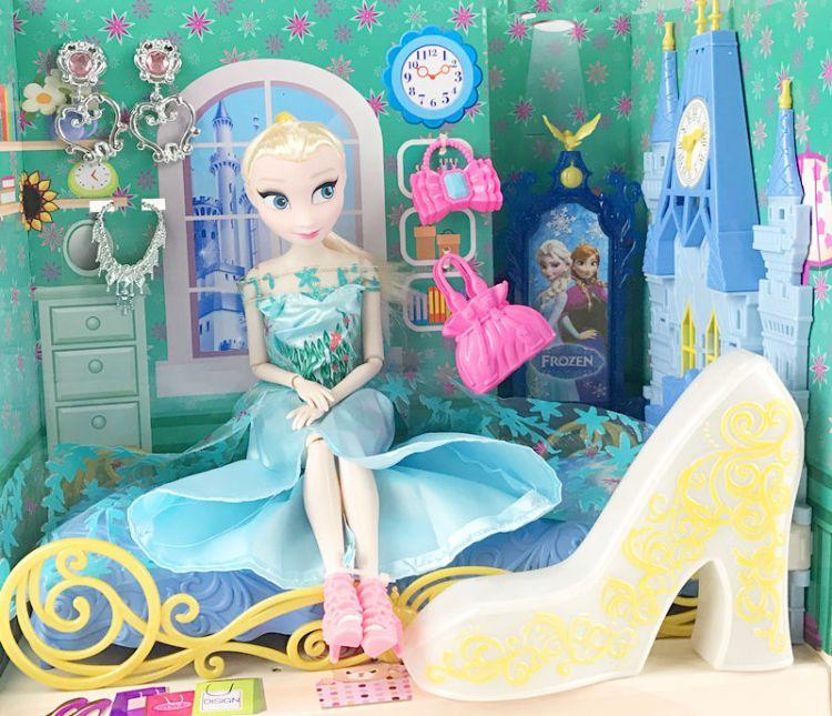 儿童过家家家具玩具女孩洋娃娃扮演玩具城堡梳妆台多关节运动