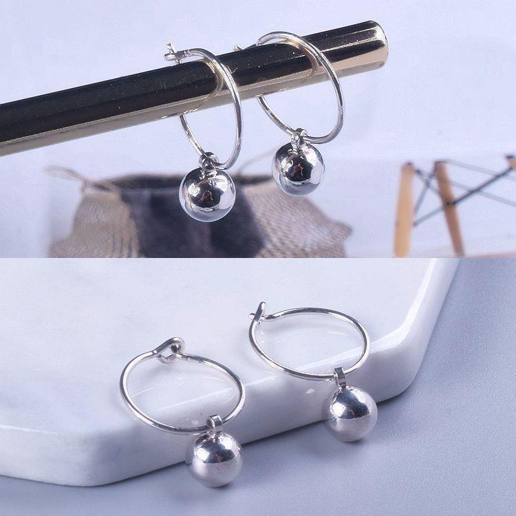 韩版新款S925纯银耳环女式简约时尚几何形圆形光珠耳扣耳吊耳饰品