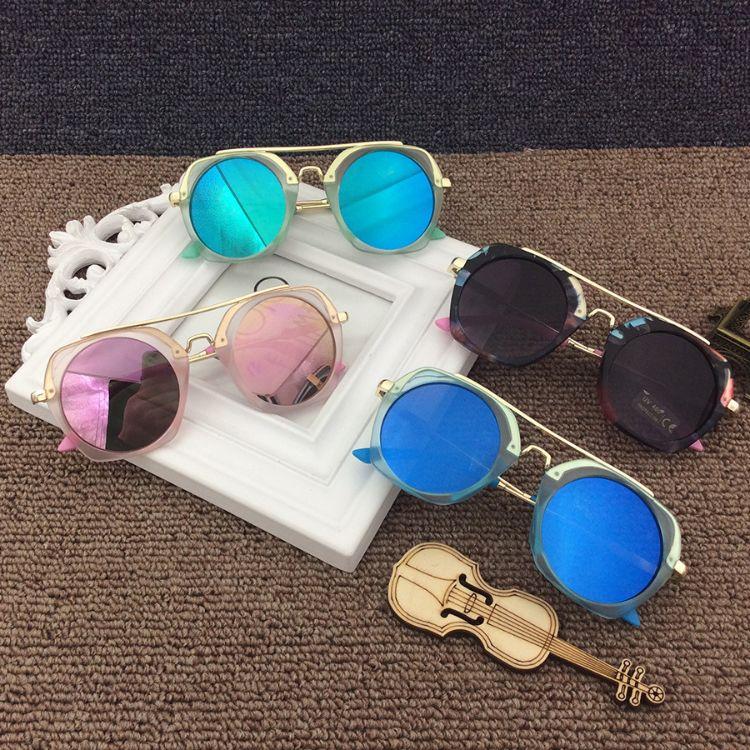 多六边形彩色儿童墨镜男女童太阳镜宝宝防紫外线个性小孩太阳眼镜