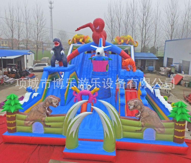 直销大型儿童淘气堡乐园充气滑梯蹦蹦床 定制水上陆地充气滑梯