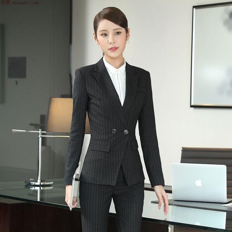 定做西服女 秋季女士条纹西装职业装批发 修身西服女装 西装定做