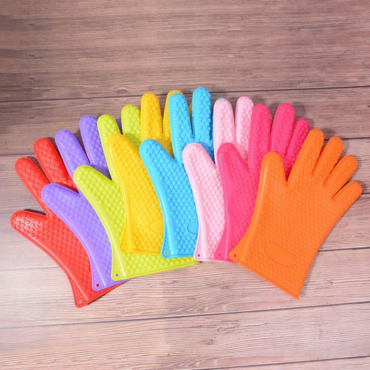 142g加厚心形防滑硅胶手套微波炉烤箱适用防烫隔热耐高温五指手套