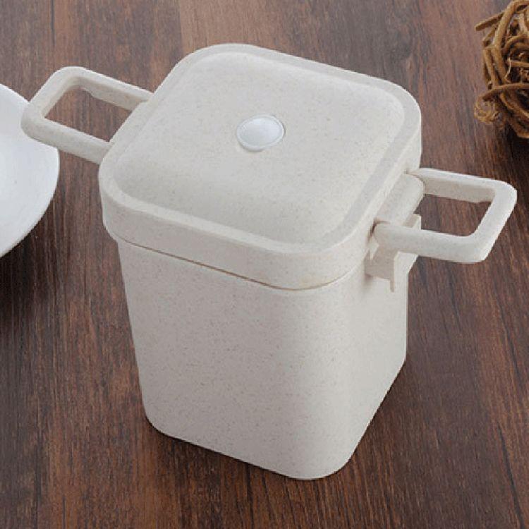 时尚环保小麦纤维密封罐 方形可微波600ml汤罐 食品密封罐