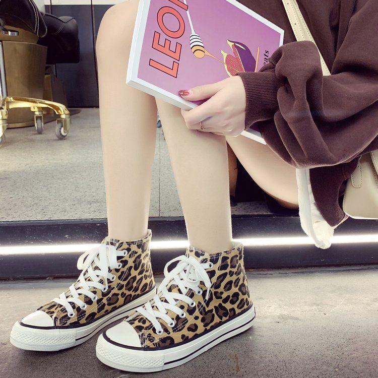2018春秋季新款平底女鞋学生风绒面豹纹圆头时尚单鞋板鞋休闲鞋