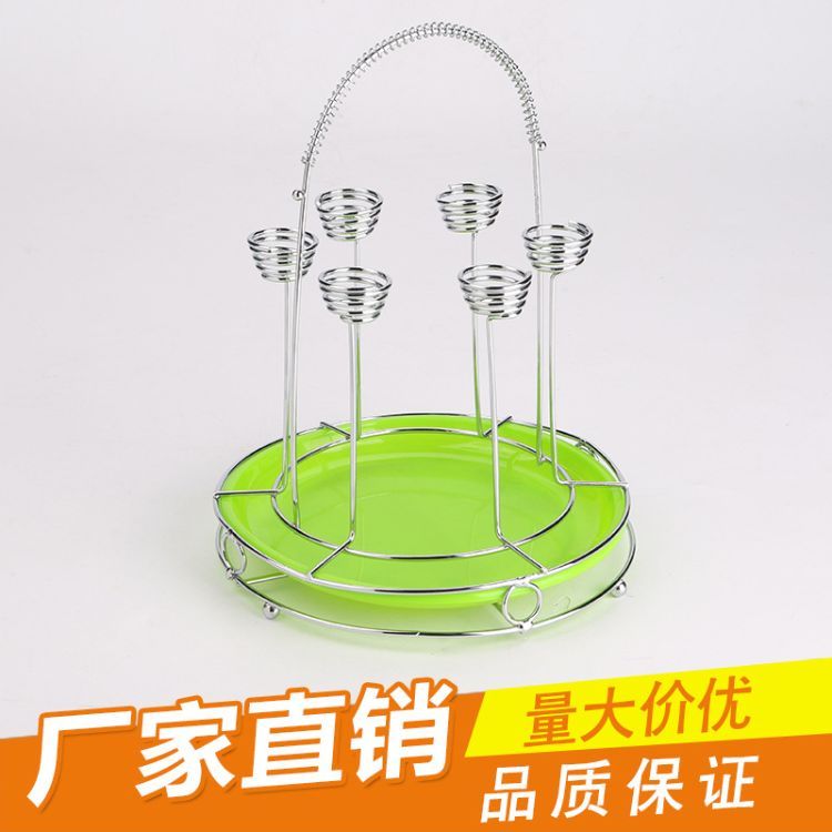 创意水杯架倒挂杯架厨房用品六杯架 圆形沥水杯架 酒店家居酒杯架