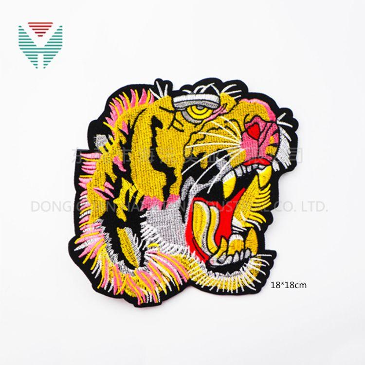厂家直销 高端装饰刺绣布贴 卡通老虎动物  电脑绣花章
