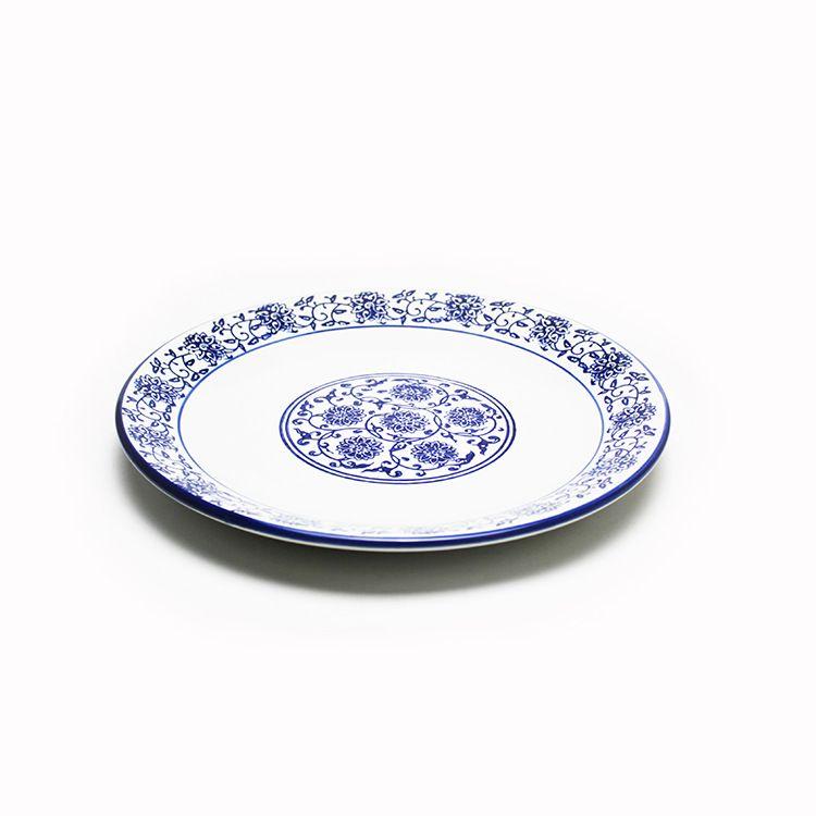 青花瓷陶瓷盘子中国风仿古陶瓷餐具陶瓷浅盘凉菜盘平盘厂家直销