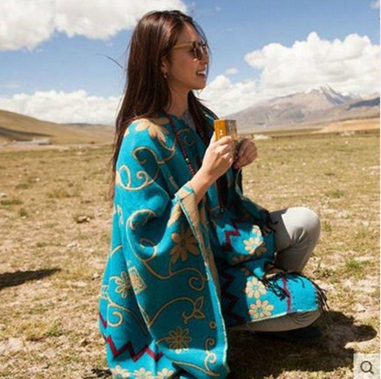 批發張雨綺西藏同款秋冬太陽花仿羊毛超大加厚防曬披肩圍巾